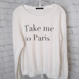 "WILDFOX White ""Take Me To Paris"" Knit Top - M"